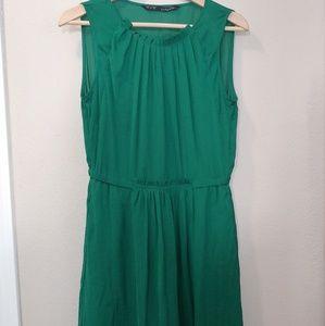 Zara Basic Emerald Sleeveless Dress with Pockets!